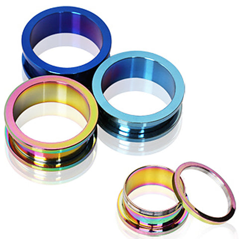 PVD Plated Screw Fit Tunnel Plug - 00GA Rainbow - Sold as a Pair