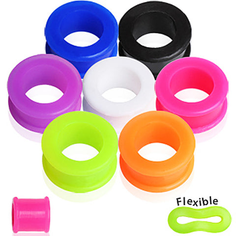 "Double Flare Flexible Tunnel Plug - 9/16"" Pink - Sold as a Pair"