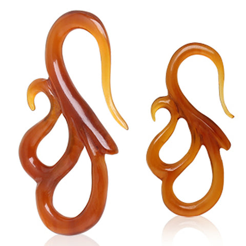 "Double ""S"" Shaped Buffalo Horn Taper - 0GA - Sold as a Pair"