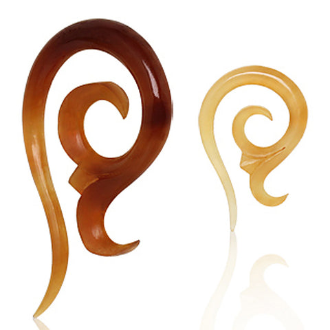 Spiral Shaped Buffalo Horn Taper - 2GA - Sold as a Pair