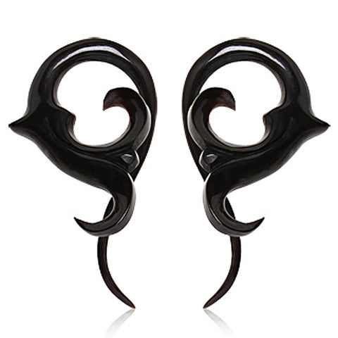 Pair of Buffalo Horn Twisted Taper with Sprouting Floral Shape - 4GA - Sold as a Pair