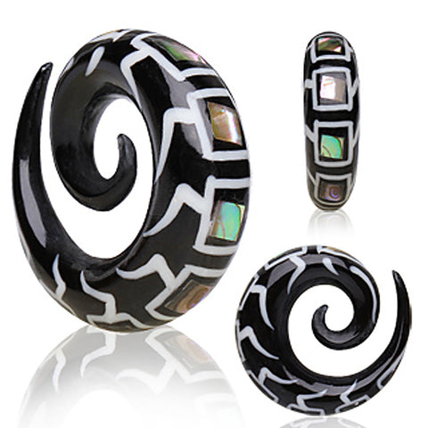 Organic Spiral Buffalo Horn Taper with Abalone Inlays - 4GA - Sold as a Pair