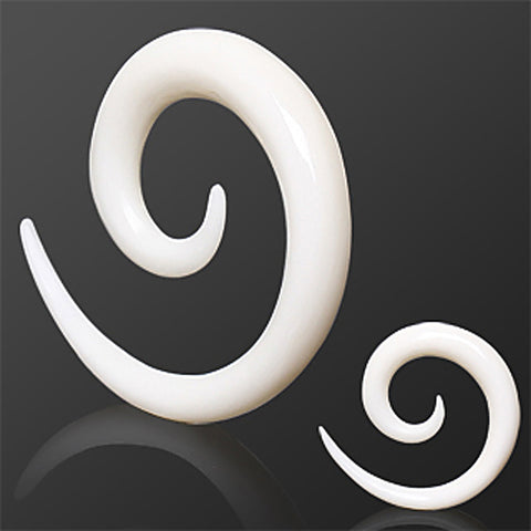 White Buffalo Horn Spiral Taper - 2GA - Sold as a Pair