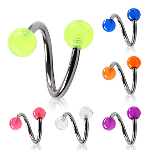 "316L Surgical Steel Twist with Glow in the Dark Ball - 16GA Orange L:3/8"" B:5mm - Sold as a Pair"