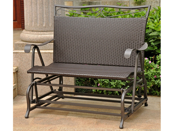 International Caravan Lisbon Iron Porch Double Glider in Dark Chocolate