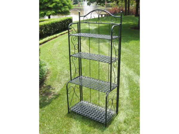 International Caravan Mandalay Iron Bakers Rack in Antique Black