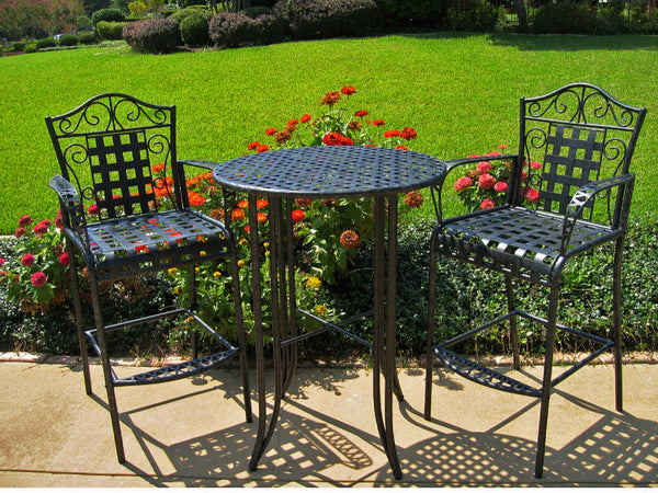 Mandalay Bar Bistro Set in Antique Black