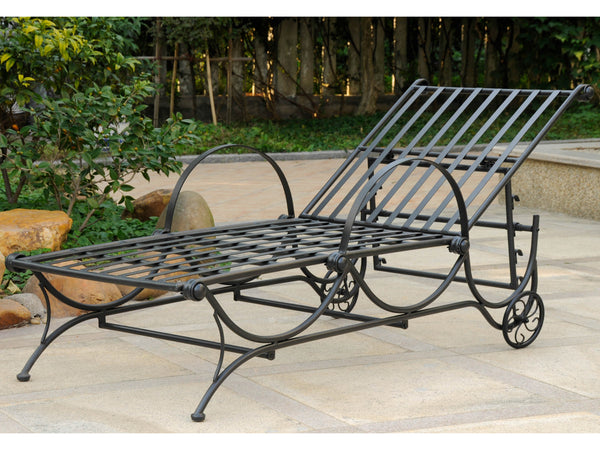 International Caravan Mandalay Iron Chaise Lounge in Antique Black