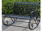 International Caravan Mandalay Iron Porch Double Rocker in Antique Black