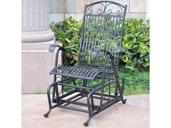 International Caravan Mandalay Iron Porch Glider in Antique Black