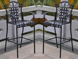 International Caravan Mandalay Iron Bar Bistro Set in Antique Black