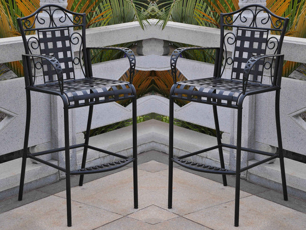 International Caravan Mandalay Iron Bar Bistro Chairs in Antique Black