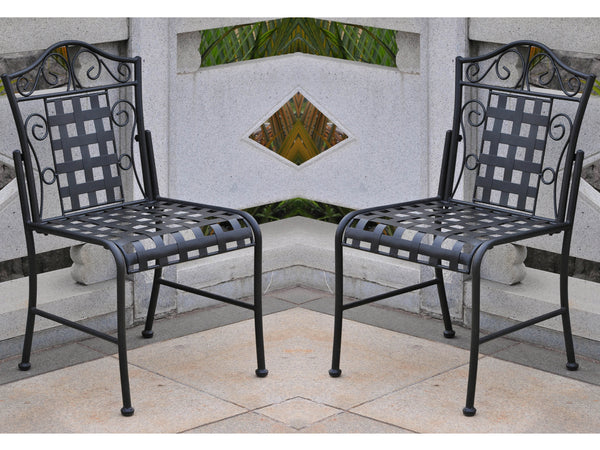International Caravan Mandalay Iron Bistro Chairs in Antique Black