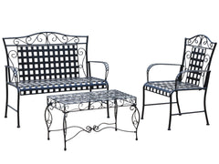 International Caravan Mandalay Iron 3 Piece Conversation Set in Antique Black