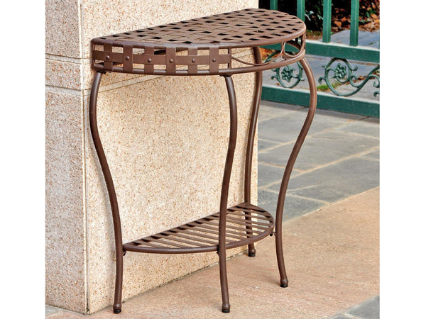 International Caravan Santa Fe Iron Half Moon Table in Rustic Brown