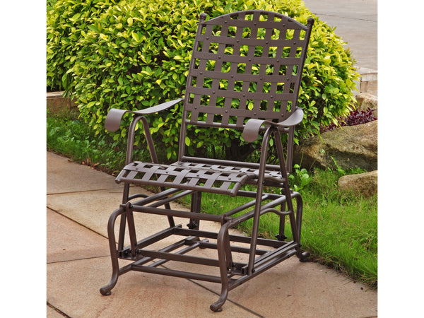 International Caravan Santa Fe Iron Porch Glider in Rustic Brown
