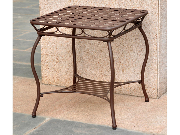International Caravan Santa Fe Iron Side Table in Rustic Brown