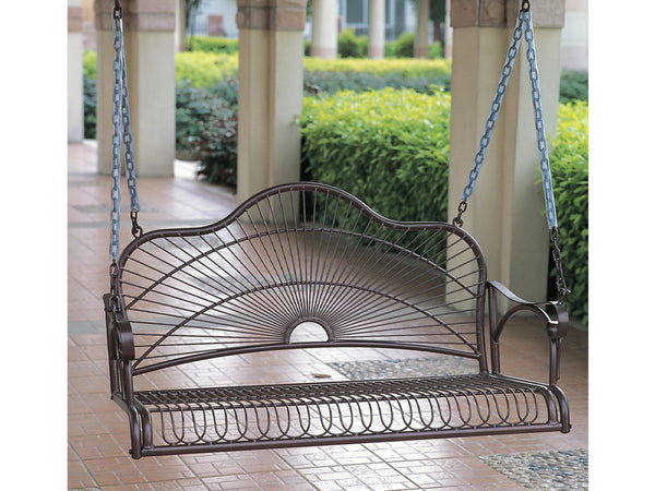 International Caravan Sun Ray Iron Porch Swing in Hammered Bronze
