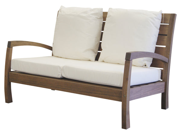 Timbo Vila Rica Patio Hardwood 2 Seat Loveseat with Arms and Cushions for only $425