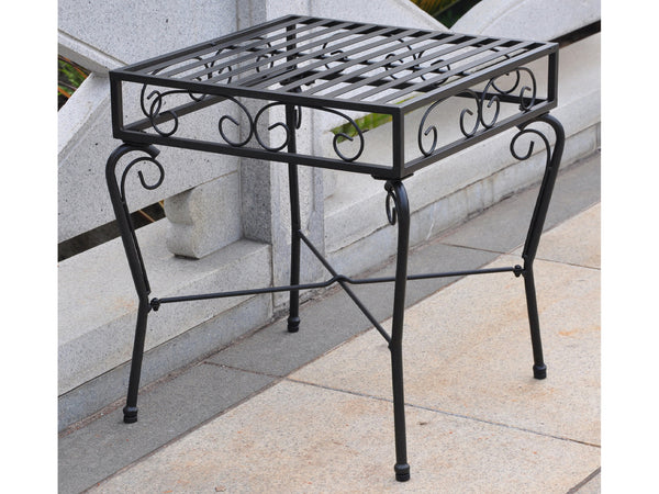International Caravan Tropico Iron Side Table in Antique Black