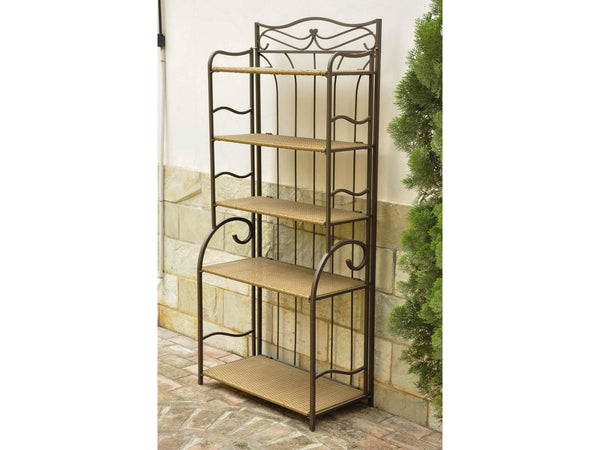 International Caravan Valencia Iron Bakers Rack in Honey