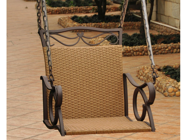 International Caravan Valencia Iron Chair Swing in Honey