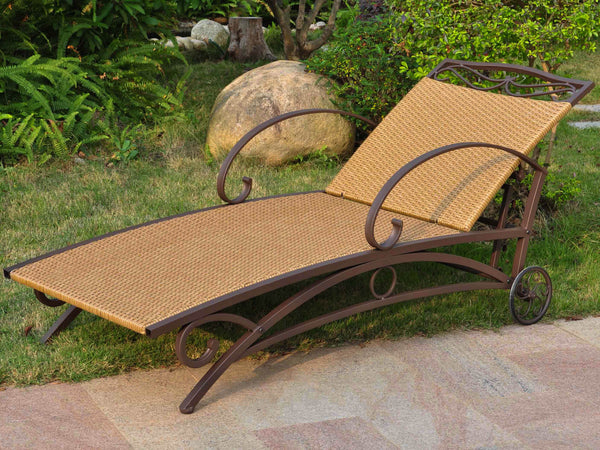 International Caravan Valencia Iron Chaise Lounge in Honey
