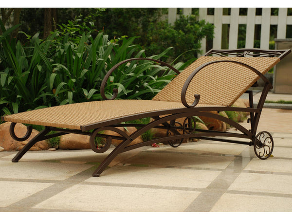 Iron Porch or Patio Chaise Lounge