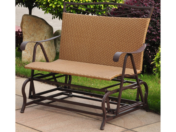 International Caravan Valencia Iron Porch Double Glider in Honey