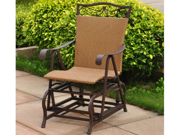 International Caravan Valencia Iron Porch Glider in Honey