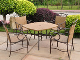 International Caravan Valencia Resin Wicker and Steel Patio Dining Set in Honey