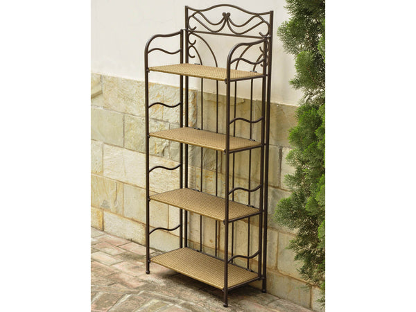 International Caravan Valencia Iron 24 Inch Wide Plant Stand in Honey