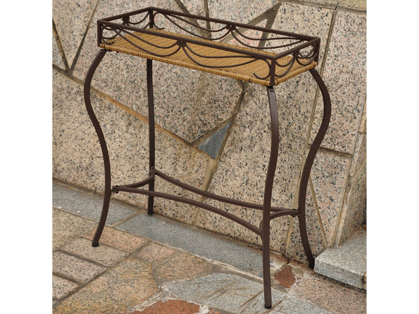 International Caravan Valencia Iron Rectangular Plant Stand in Honey