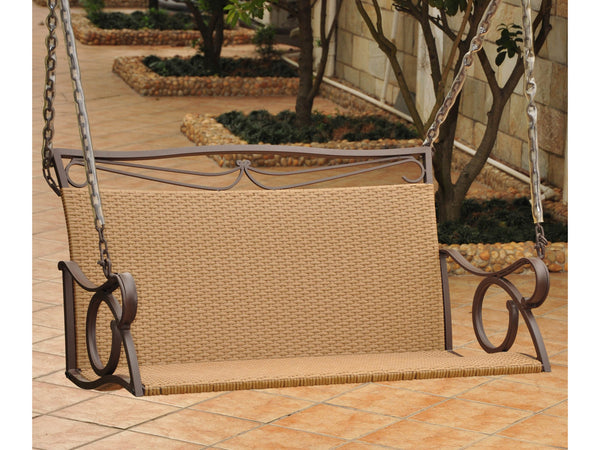 International Caravan Valencia Iron Porch Swing in Honey