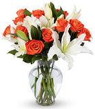 Benchmark Bouquets Orange Roses and White Oriental Lilies, With Vase (Fresh Cut Flowers)