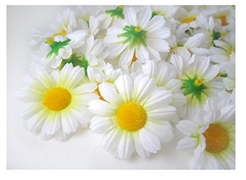 "ICRAFY 24 Daisy Silk Head White Color, Size 1.5"" Artificial Flowers Heads Fabric Floral Supplies Wholesale Lot for Wedding Flowers Accessories Make Bridal Hair Clips Headbands Dress"