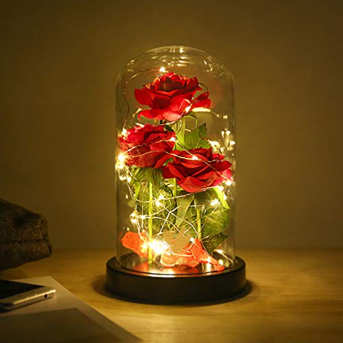 Beauty and The Beast Rose flowers, 40 LED Lights in Glass Dome on Wood Base, Warm Light mode, Fallen Red Petals, Multi Use for Home/Office or Home Decorations, Mother's Day Gifts for Women