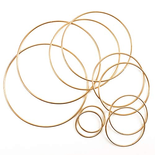 Craft Hoops,10pcs Floral Wreath Hoop Metal Rings Supplies Macrame Rings Craft Dream Catcher Rings for DIY Decor, 5 Size(2inch, 3inch, 4inch, 5inch, 6inch)