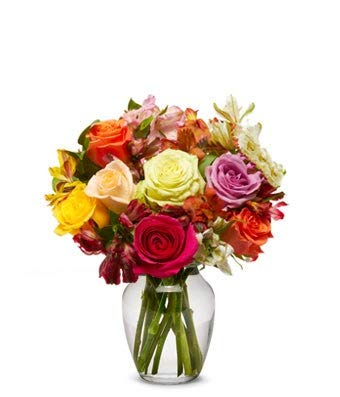 Flowers - Roses & Alstros Bouquet - Regular (Free Vase Included)