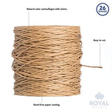 Natural Floral Bind Wire Wrap Twine, Paper Covered Waterproof Rustic Vine for Flower Bouquets 26 Gauge (673 Ft) by Royal Imports