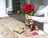 Flowers - Two Dozen Red Roses + Heart Balloon + Chocolate + Bear (Free Vase Included)
