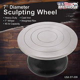 "US Art Supply 7"" Diameter Sculpting Wheel- Heavy Duty All Metal Construction & Turntable with Ball Bearings"