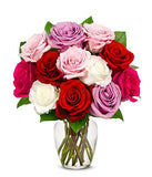 Flowers - One Dozen Assorted Sweetheart Roses (Free Vase Included)