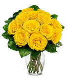Flowers - One Dozen Yellow Roses (Free Vase Included)