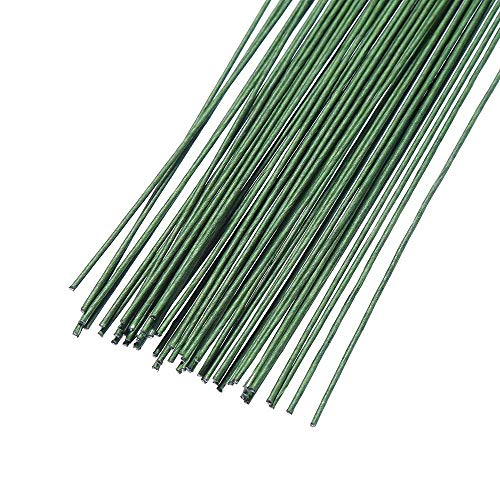 Onwon 60 Pieces 18 Gauge Floral Stem Wire 14 Inch Crafting Floral Paper Wrapped Wire, Dark Green