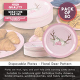 Disposable Plates - 80-Count Paper Plates, Bridal and Baby Shower Party Supplies for Appetizer, Lunch, Dinner, and Dessert, Floral Deer Pattern, 9 x 9 Inches