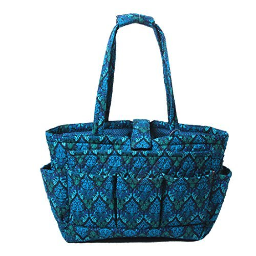 Floral Quilted Cotton Needle Bag Knitting Bag Yarn Storage Tote (Blue Damamks)