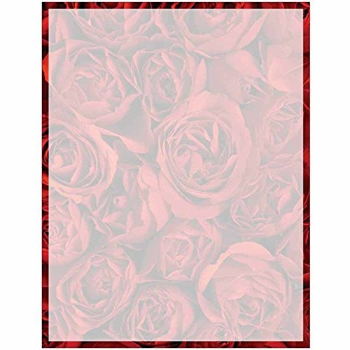 Full Red Roses Print with Border Stationery Letter Paper - Floral Flower Theme Design - Gift - Business - Office - Party - School Supplies