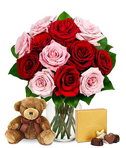 Flowers - One Dozen Red & Pink Roses with Godiva and a Bear (Free Vase Included)