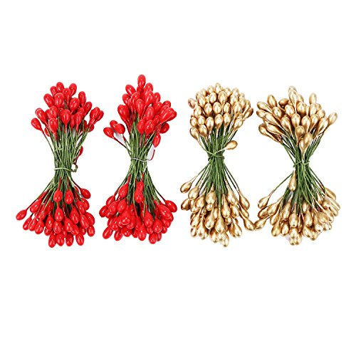 Shappy 400 Pieces Elliptical Artificial Holly Berries on Wire for Christmas Decoration and Floral Arrangement (Red and Gold)
